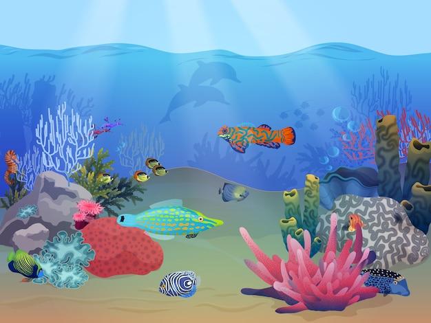 Paisagem subaquática do mar oceano