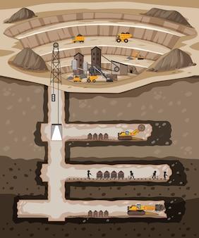 Paisagem subterrânea de mina de carvão