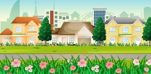Paisagem suburbana com muitas casas