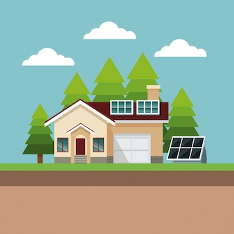 Paisagem suburbana do painel solar suburbano