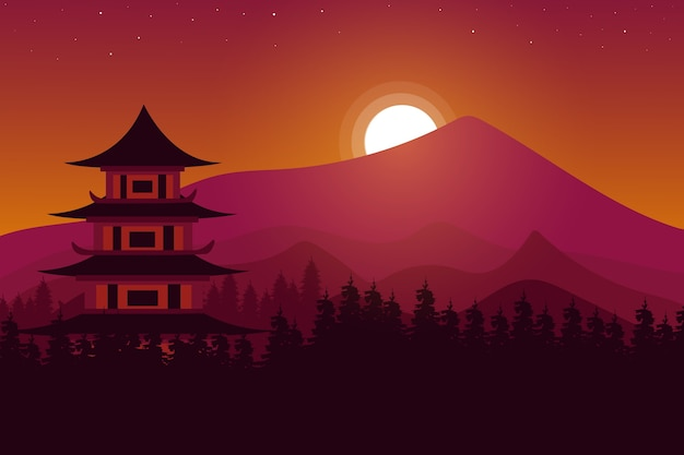 Paisagem templo chinês nas montanhas