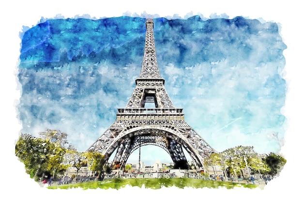 Paisagem torre eiffel paris frança esboço em aquarela ilustração desenhada à mão