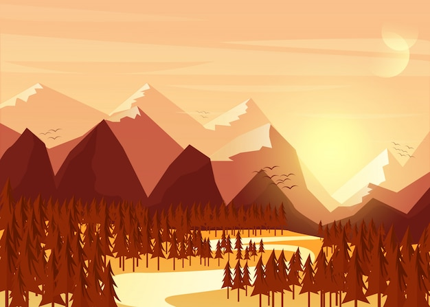 Paisagem tropical bonita do por do sol e o sol que vem para o horizonte.