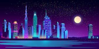 Paisagem urbana com arranha-céus de néon