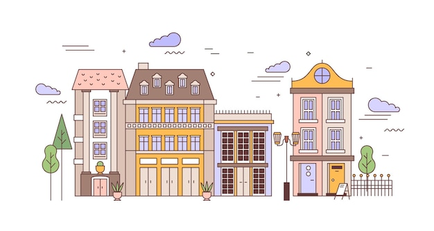 Paisagem urbana com bairro com elegantes edifícios residenciais de arquitetura europeia Vetor Premium