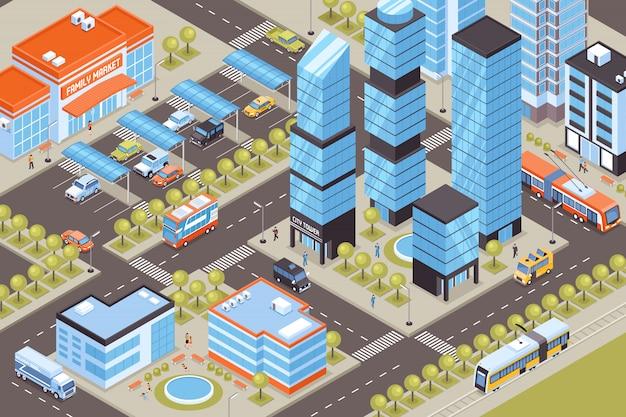 Paisagem urbana com carros de transporte público e ilustração isométrica de prédio alto