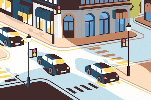 Paisagem urbana com carros passando ao longo da estrada, belos edifícios, cruzamento com semáforos e faixas de pedestres ou faixas de pedestres