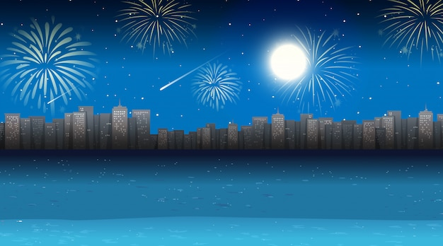Paisagem urbana com cena de fogos de artifício celebração