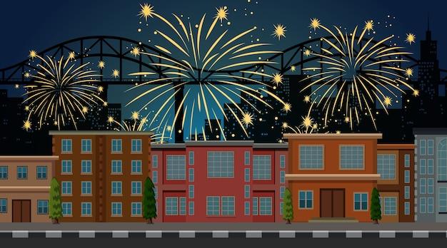 Paisagem urbana com cena de fogos de artifício