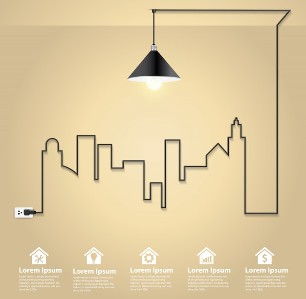 Paisagem urbana com conceito de idéia criativa lâmpada de fio