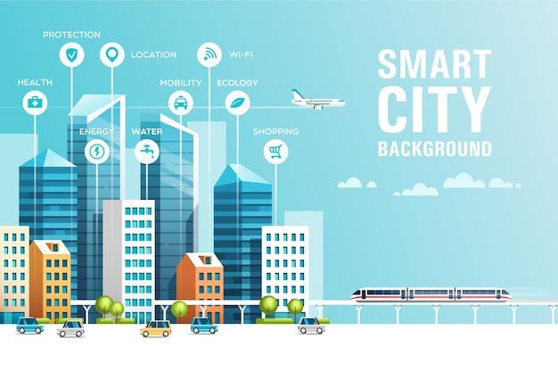 Paisagem urbana com edifícios, arranha-céus e tráfego de transporte. conceito de cidade inteligente com ícones.
