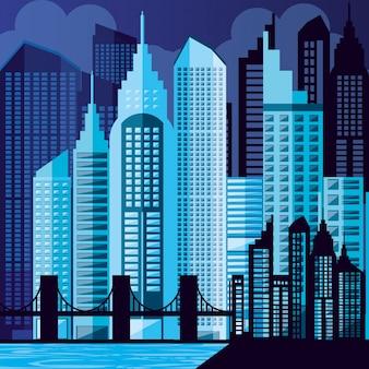 Paisagem urbana com edifícios cena noite