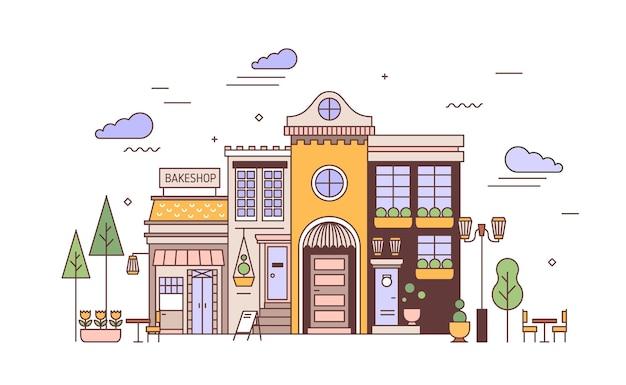 Paisagem urbana com fachadas de um edifício europeu requintado e padaria. rua vista do distrito da cidade com casa elegante e padaria ou padaria. ilustração vetorial colorida em estilo de linha de arte.