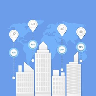 Paisagem urbana com ilustração de elementos infográficos