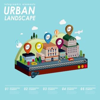 Paisagem urbana com linda cidade em estilo plano 3d isométrico