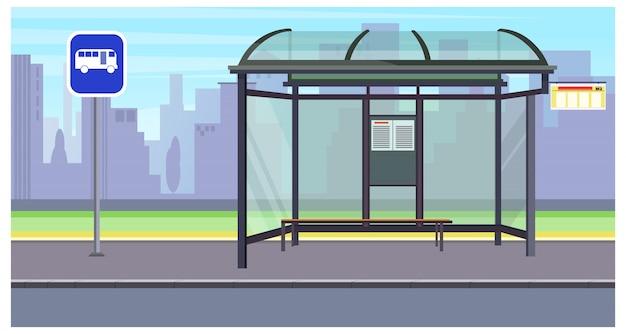 Paisagem urbana com paragem de autocarro vazia e ilustração de sinal