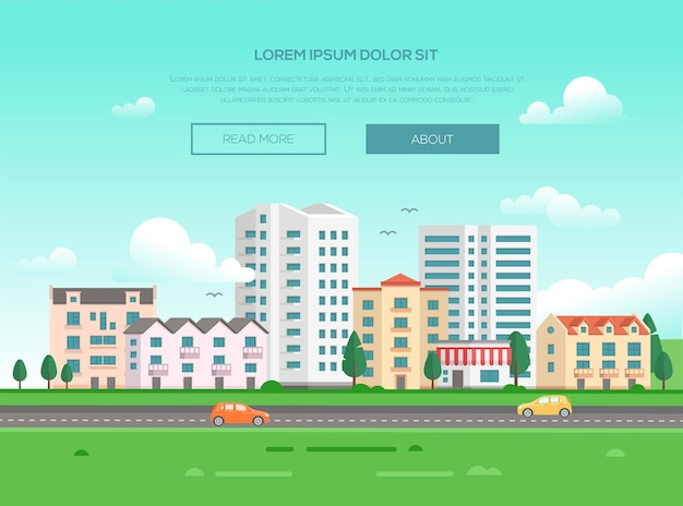 Paisagem urbana com uma estrada - ilustração vetorial moderna com lugar para texto. boa cidade ou cidade com arranha-céus e pequenos edifícios e casas de andares baixos, árvores, grama verde, carros, pássaros no céu