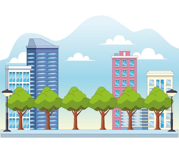 Paisagem urbana da cidade com edifícios e árvores