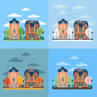 Paisagem urbana da cidade europeia com casas