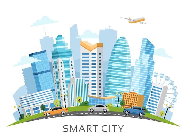 Paisagem urbana da cidade inteligente disposta em arco com edifícios, arranha-céus e tráfego de transporte. ilustração