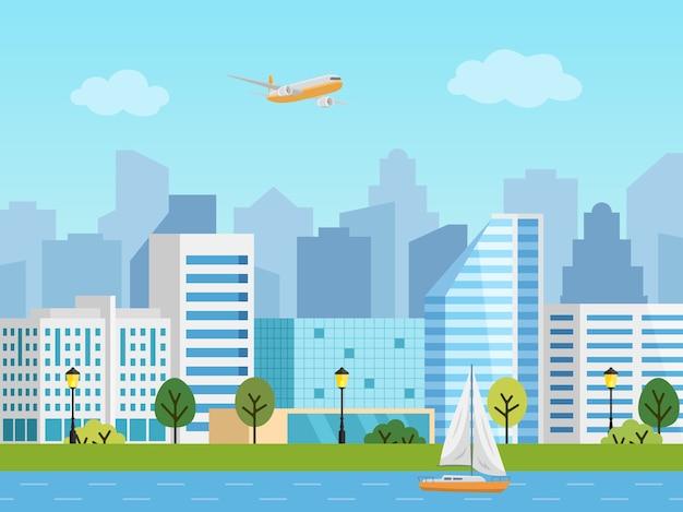 Paisagem urbana da cidade. panorama dos edifícios em frente a arranha-céus. avião no céu, barco no rio.