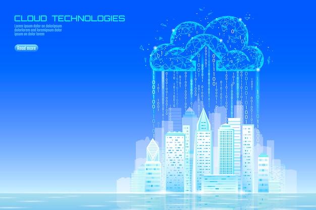 Paisagem urbana de computação em nuvem cidade inteligente 3d luz.