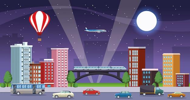 Paisagem urbana de edifícios com cena noturna de meios de transporte