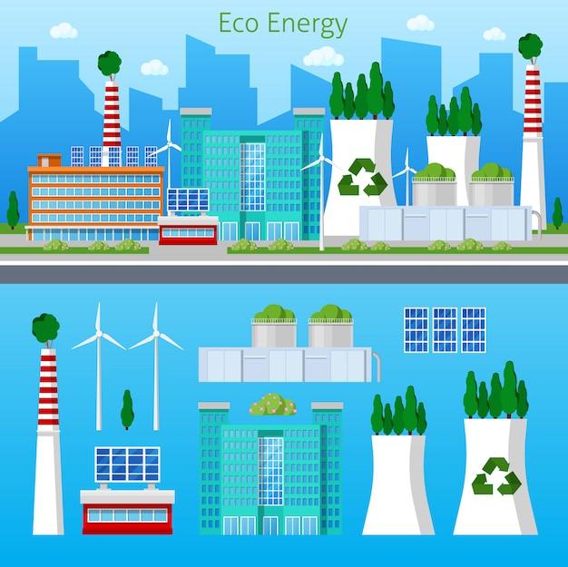 Paisagem urbana de energia verde fábrica eco com bateria solar. ilustração