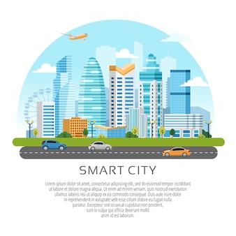 Paisagem urbana de estilo redondo com edifícios, arranha-céus e tráfego de transporte.