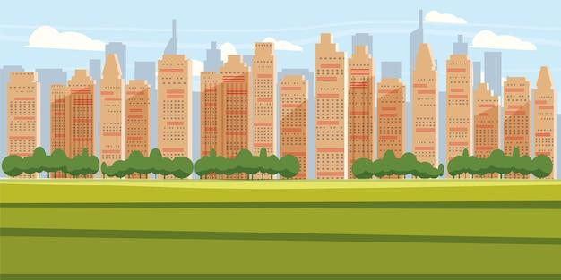 Paisagem urbana de fundo panorama de cidade moderna com silhueta de horizonte de arranha-céus