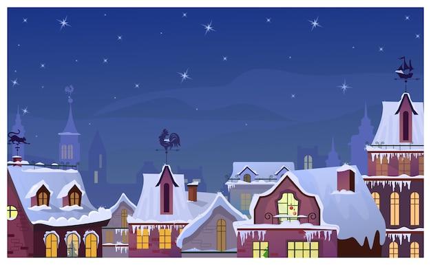 Paisagem urbana de inverno com céu noturno e telhados de casas