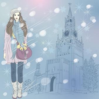 Paisagem urbana de inverno de natal com garota da moda em moscou