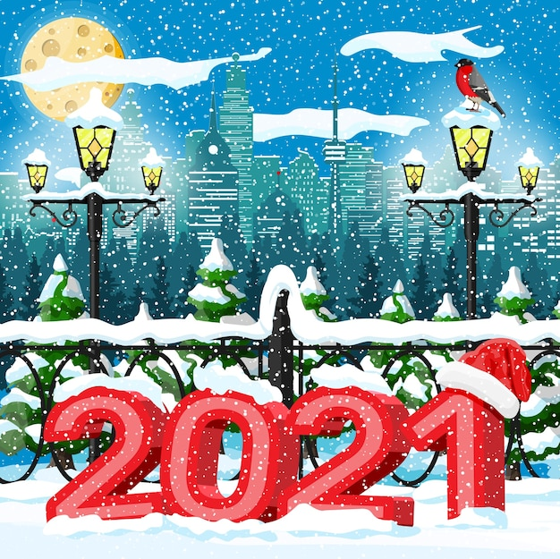 Paisagem urbana de inverno de natal, flocos de neve e árvores.