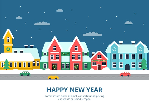 Paisagem urbana de inverno. noite de edifícios de cidade de telhado nevado com ilustrações de cidade de férias de natal de flocos de neve