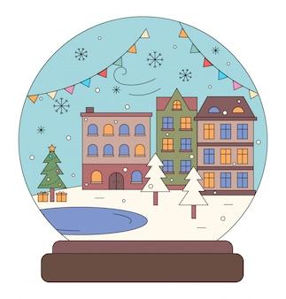 Paisagem urbana de inverno rua com bola de neve de edifícios
