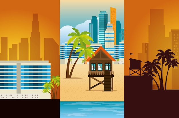 Paisagem urbana de miami beach conjunto cenas ilustração vetorial design