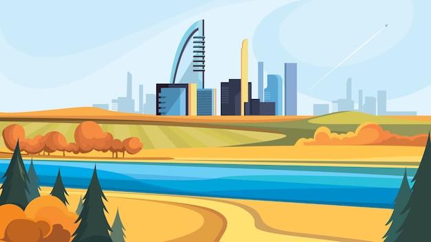 Paisagem urbana de outono. bela vista da cidade com árvores douradas.