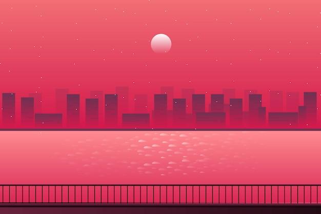 Paisagem urbana de paisagem com paisagem do mar e noite estrelada