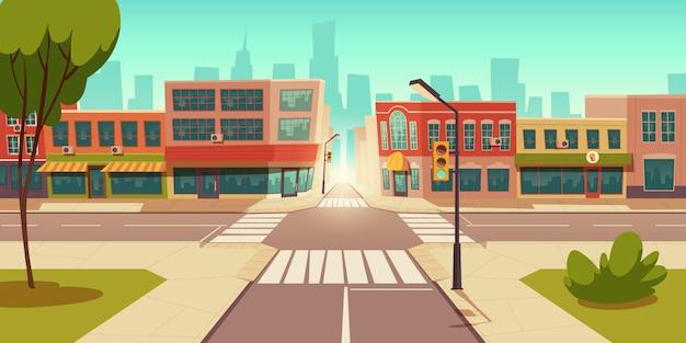 Paisagem urbana de rua, encruzilhada, semáforos