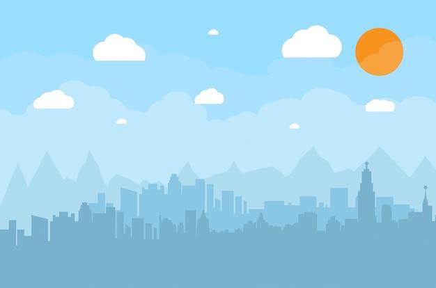 Paisagem urbana de silhueta de edifícios.