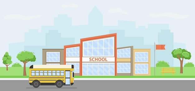 Paisagem urbana de verão com prédio da escola e ônibus amarelo.