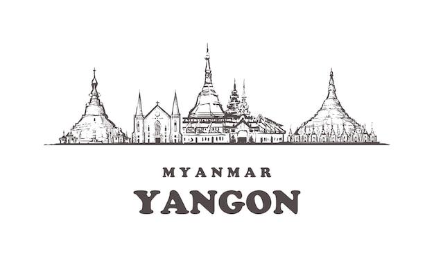 Paisagem urbana de yangon, myanmar