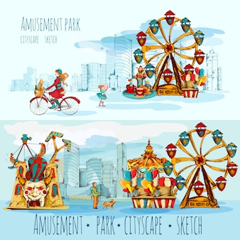 Paisagem urbana do parque de diversões