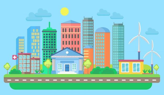 Paisagem urbana dos desenhos animados