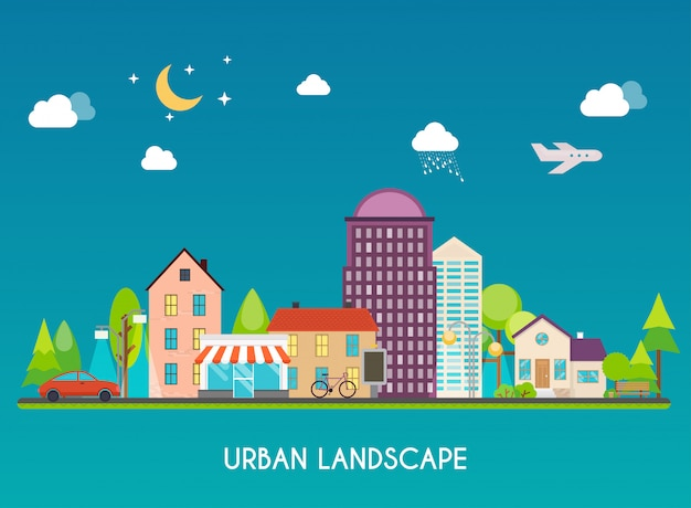 Paisagem urbana. edifícios modernos e subúrbios com casas particulares. cidade plana. conceito de ilustração moderna de estilo de design.