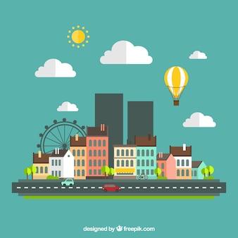 Paisagem urbana em design plano