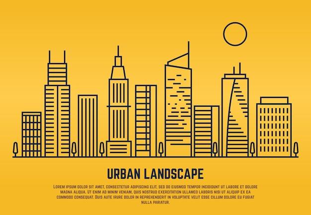 Paisagem urbana em estilo de vetor de linha