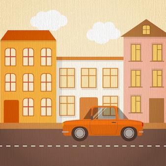 Paisagem urbana em estilo retro