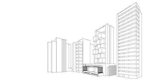 Paisagem urbana em fundo branco, horizonte da cidade moderna, silhueta da cidade, ilustração vetorial em design plano.