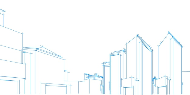 Paisagem urbana em fundo branco, perspectiva de construção, edifício moderno no horizonte da cidade, silhueta da cidade, centro de negócios, ilustração vetorial no design plano.
